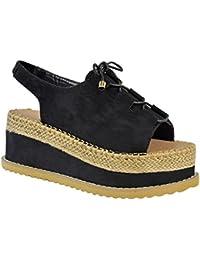 Espadrilles/sandales à lacets - semelle plateforme - bride arrière - femme