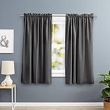 "AmazonBasics Room Darkening Blackout Curtain Set of 2 with Tie Backs - (5.25 Feet - Window) 52"" x 63"", Dark Grey"