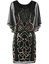 PrettyGuide Women's Flapper Dress 1920s Gatsby Inspired Sequin Art Deco With Cape