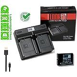 LOOKit Dual Chargeur + 1x LOOKIt Batterie BLC12 - 1050mAh pour Panasonic FZ2000 G81 FZ300 FZ1000
