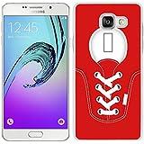 funda carcasa para Samsung Galaxy A5 2016 zapatilla cordones color rojo borde blanco