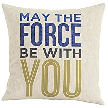 """NicholasCGShopOnline C7773F Cotton Linen Decorative Throw Pillow Case Cushion Cover May The Force Be With You 18 """"X18 """""""