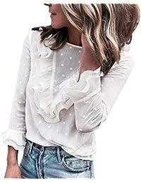 5e73cadcdedf0c Petalum Damen Bluse Blumen Strickrei Rüshcne Volant Hemd Trompetenärmel  Tunika Beiläufig Langarmshirt T-Shirt