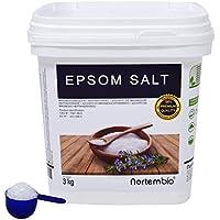 Sal de Epsom NortemBio 3 Kg, Fuente concentrada de Magnesio, Sales 100% Naturales
