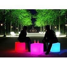 CUBO CON LUZ LED 40cm, RGB, RECARGABLE - ENTREGA 1-3 DÍAS