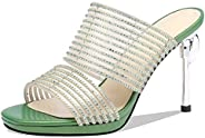 BIAN Slippers for Women Heeled Slip-on Stilettos Heel Rhinestone Decoration Bands Microfiber Uper Breathable A