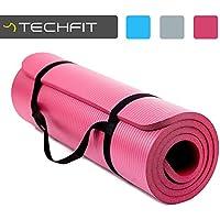 TECHFIT Tapis de Yoga et Fitness, Extra Epais 10 mm/15 mm, 180 x 60 cm, Parfait pour des Exercices au Sol, le Camping, le Gym, des Stretching, des Abdominaux, les Pilates