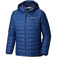 Columbia Chaqueta Impermeable con Capucha para Hombre, Powder Lite Hooded Jacket, (Azul Crosshatch