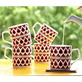 Femora Bone China Classical Red Pattern Microwave Safe Tea Cup Coffee Mug For Office & Home, Set Of 6, 185 Ml- 1 Year Warranty