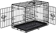 AmazonBasics Double Door Folding Metal Cage Crate For Dog or Puppy - 13 x 16 x 22 Inches