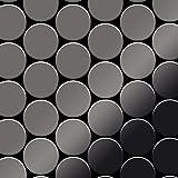 Azulejo mosaico de metal sólido Titanio Smoke espejo gris oscuro 1,6 mm de grosor ALLOY Medallion-Ti-SM 0,73 m2