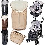 2in1 Winterfußsack (0 bis 36 Monate) für Babyschale / Kinderwagenschale / Kinderwagen / Buggy in 4 verschiedene Farben