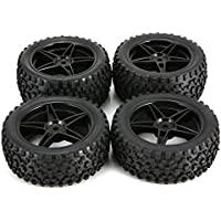 Kurphy 4Pcs 88mm 5 Contour Square Stripes Fetal Flower Off-Road Wheel Rim and Tires for 1/10 Monster Truck Racing RC Car Accessories