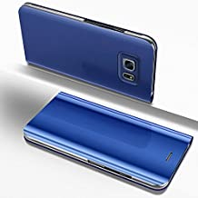 Funda Galaxy S6 Edge,Surakey Galaxy S6 Edge Clear View Standing Cover - Funda para Samsung Galaxy S6 Edge,Translucent Window View Flip Wallet Stand Cover,Plating Make Up Mirror, Case For Samsung Galaxy S6 Edge, Caja del Teléfono Móvil para Samsung Galaxy S6 Edge,Galaxy S6 Edge Case Mirror Funda, Flip Stand Luxury Mirror Funda del Teléfono Móvil Caja del Teléfono Ultra Thin Book PC Shock Absorbing Case Teléfono móvil Shell Cover para Samsung Galaxy S6 Edge,Azul