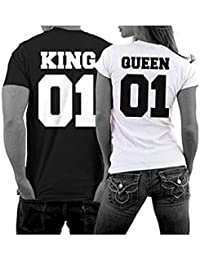 Jc.Kube Femme King and Queen Couples T-shirt Manches courtes Été Printed Top Tee