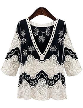 Haroty Las Mujeres Camisa de Encaje de Hueco Camiseta Bordada Manga 3/4 Cuello en V Elegant Suelto Recto Ocasionales