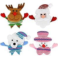 Lot de 4 broche de Noël multicolore lumineux broche pour Noël enfants / adultes décorations ornements cadeaux y compris-Santa Claus, bonhomme de neige, ours, wapiti