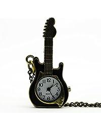 Classical Vintage Good Quality Classical Bronze Tone Cool Fashion Necklace Quartz Guitar Pocket Watch