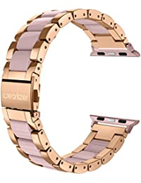 Para Apple Watch Pulsera, wearlizer Acero Inoxidable Metal iWatch correas para reloj de pulsera Wrist Band para iWatch Serie 1 y Serie 2, 38mm roségold