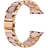 Wearlizer For Apple Watch Strap, Stainless Steel Metal iWatch Straps Replacement Band Bracelet Wristband for iWatch Series 1 and Series 2-38mm Rose Gold