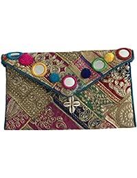Shubhangi Women's Sling Bag (Jaipuri Embridered Handicraft Traditional Bags,Multi-Coloured,zari Gota Glass, R3... - B075WWY76Y