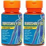 Nuroshrey-OD Vitamin B12 (High Absorption Methylcobalamin), ALA & Folic Acid - 120 Capsules (Supports Brain Cells, Energy Production & Reduces Fatigue) (2 Bottles)