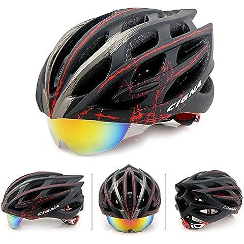 Mate Riding Moldeo MTB Gafas Ultraligero y transpirable Casco Casco de carretera ajustable bici de montaña del casco de ciclista (Negro + Rojo)