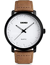 Mens Wrist Watches with Brown Leather Strap - Classic Big Face Analogue Quartz Watch, 3 ATM Waterproof Fashion Casual Business Dress Watches with Date Calendar Simple Design for Men by SKMEI