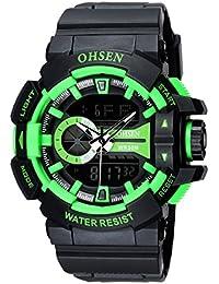 OHSEN Reloj De Hombre Mujer De Deportivo De Moda Impermeable Multifunción Cronómetro Analógico Con Doble LED - Negro/Verde