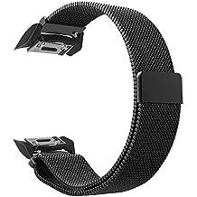 Fintie Bracelet Samsung Gear S2 - en Acier Inoxydable sport poignet en métal Replacement Bracelet Milanais avec fermeture magnétique pour Samsung Gear S2 SM-R720 / SM-R730 Smart Watch, Noir