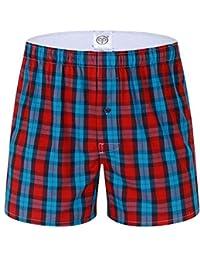 Homme 100% Coton Boxers Caleçon Lâche Short Américains Sous-Vêtement à Carreaux en Couleurs Divers