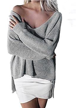StyleDome Mujer Suéter Jersey Invierno Suelto Escote Pico Elegante Mangas Largas Oficina Croché