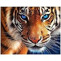 CreameBrulee 30 * 35cm tigre bordado de bricolaje diamantes de la costura completa plateado 5D Pintura