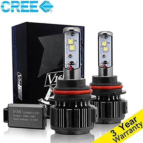 techmax LED Bombillas para faros delanteros Kit de conversión 7,200lm 60W 6000K Blanco frío CREE–3año de