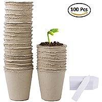 Augola Macetas biodegradables de fibra para semillas con 100 etiquetas de plástico para plantas