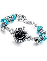 Reloj Pulsera de mujer con cristales – Pulsera de mujer con Beads plata compatible Pandora – Bead de cristal,…