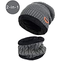 BSOFFICE Unisex Winter Outdoor Windproof Thermal『 Hat Scarf Set 』Thick Ski Cap Beanie Winter Neck Warmer Fleece Lined Infinity Scarf Thicken Windproof Dust Skiing Scarf Circle Scarf