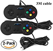 EXLENE 2 Pack USB SNES Controllore GamePad Joystick 10ft/3m, SNES giochi USB per PC Windows Ubuntu Raspberry P