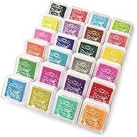 Bestele 24 Colores Lavable Almohadillas de Tinta Para Niños, Arco Iris Color de Huellas Dactilares Almohadilla de Tinta Para Sellos de Goma Socio Tarjetas y Niños DIY Scrapbooking