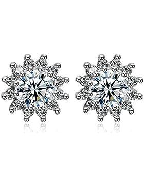 Frauen 925 Sterlingsilber-Blumen-wei?e Kristallbolzen-Ohrring-Art- und Weiseschmucksachen¡