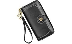 Wallet Ladies Leather Large Capacity Purse High Quality Wallet, with Many Compartments and 11 Card Slots Long Wallet, Zipper Hasp Purse Money Bag Cell Phone Wallet Card Holder.