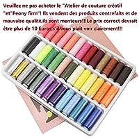 JTDEAL Hilo de coser para a mano o a máquina(39 colores), Hilo fuerte, Juego de carrete de hilo de poliéster avanzado, Suministros de coser coloridos