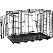 AmazonBasics Double Door Folding Metal Cage Crate For Dog or Puppy - 36 x 23 x 25 Inches