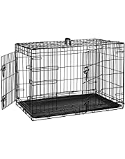 AmazonBasics Double Door Folding Metal Dog Cage with Paw Protector (36x23x25 inches)