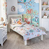"Riva Paoletti Kids Woodland Animals Single Duvet Set - 1 x Pillowcase Included - Cream and Green - Reversible - Machine Washable - 137 x 200cm (54"" x 79"" inches) - Designed in the UK"