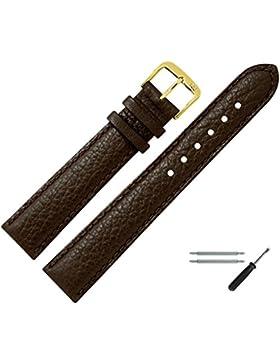 Uhrenarmband 16mm Leder braun Büffelnarbe, mit Naht - MADE IN GER - inkl. Federstege & Werkzeug - Uhrarmband im...