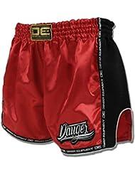 """'Danger Muay Thai Pantalones Cortos """"cintura baja, Rojo, hecha de satén, color rojo, tamaño XXL (34"""")"""