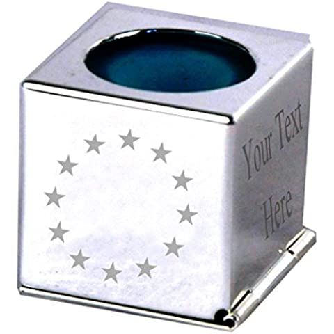 Dell'Unione europea, con stelle in argento, incisione personalizzata gesso-Custodia per stecca da Snooker