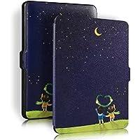 PIXNOR Cubierta protectora de cuero genuino con Auto despertar o dormir para Amazon Kindle Paperwhite(Moon Lovers)