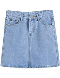 fa212a61d8 Women's Casual Pure Color Mini Skirts High Waist Denim A-Line Short Skirt